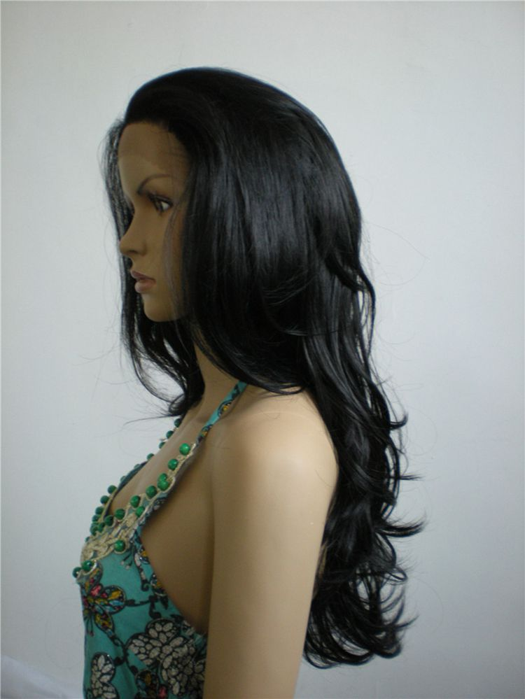 Factory price in stock black hair wig 24inch synthetic black wave hair wig