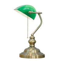 M-1099 Home bedroom living room pull chain green banker table lamp