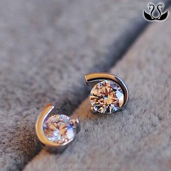 Elengant Woman Simple Shing Moon Shaped Whole Diamond Earrings