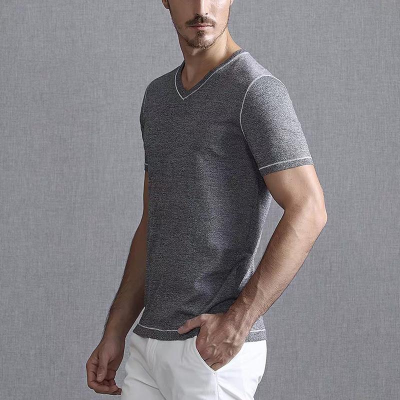 Algodão marca Solto V Pescoço Camisas de T para Homens