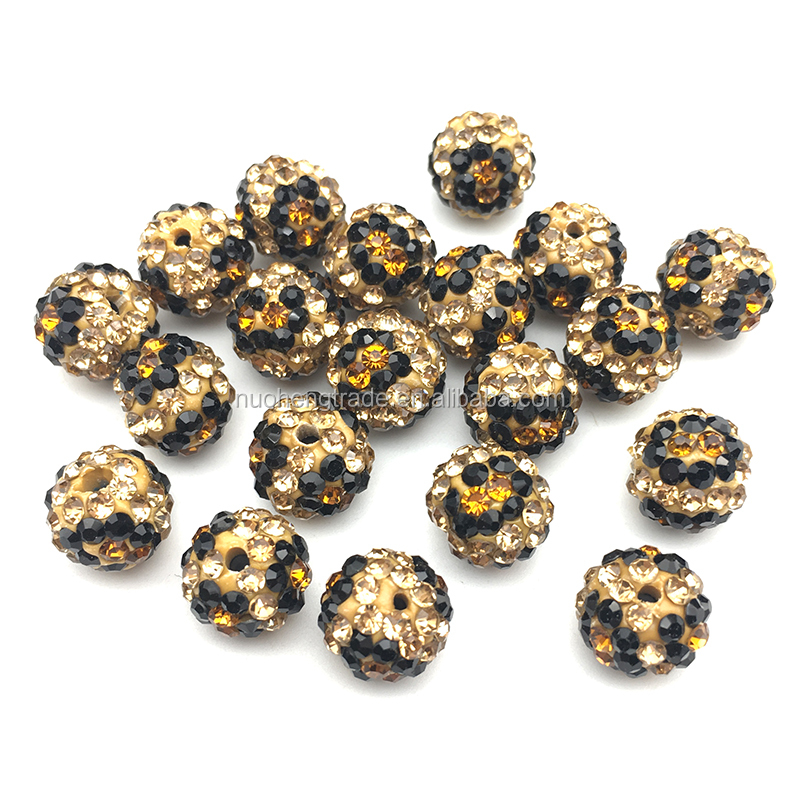 Clay Beads with Rhinestone Leopard Bracelet Spacer Beads For Jewelry Making, Cheetah
