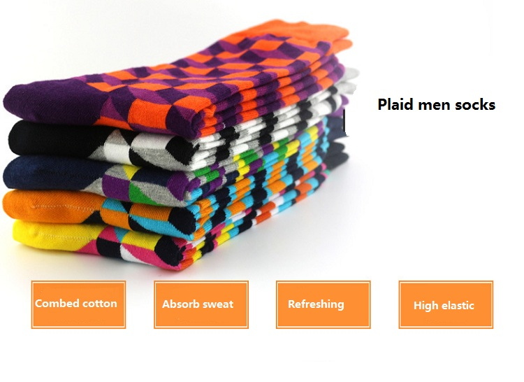 Men British style Plaid combed cotton socks