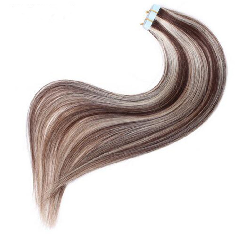 Fabwigs Tape In Hair Extensions Ombre - Piano Color #2/613 Dark Brown Mixed Bleach Blonde Highlight 18 Inch/40g 20pcs/Set - Silky Straight Skin Weft Human Remy Hair