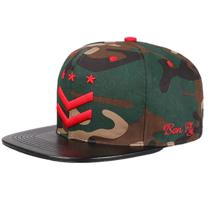 d3e5af73815fa Fashion camouflage Custom Hat digital camo flat bill 3d embroidered  snapback Cap hat with leather brim