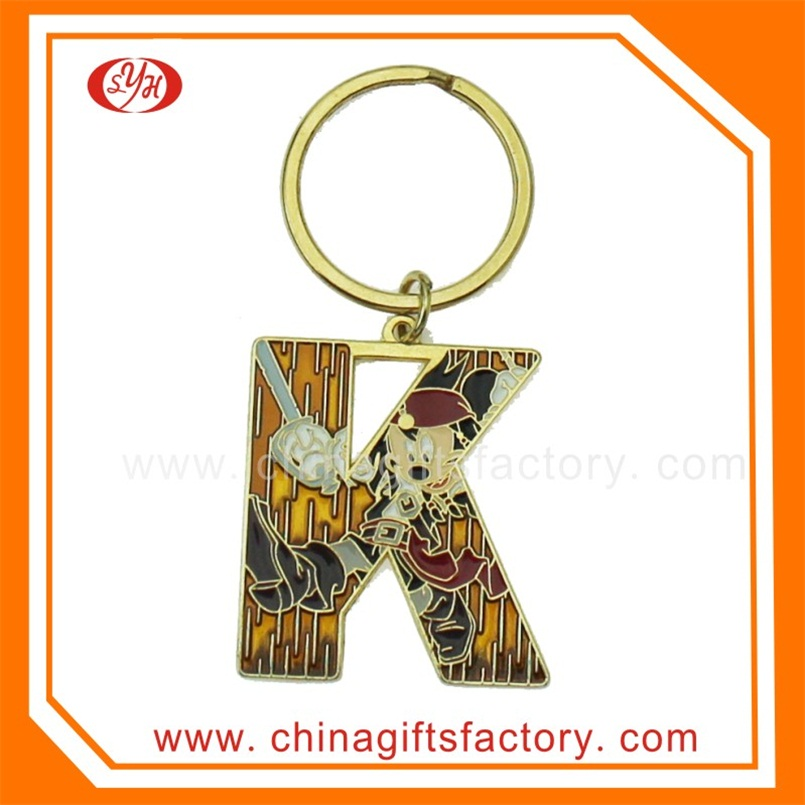 High Quality Zinc Alloy Letter J Keychain