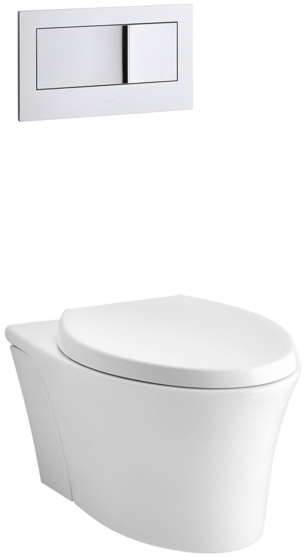 KOHLER K-6303-0 Veil Elongated Dual-Flush Wall-Hung Toilet, White, 1-Piece
