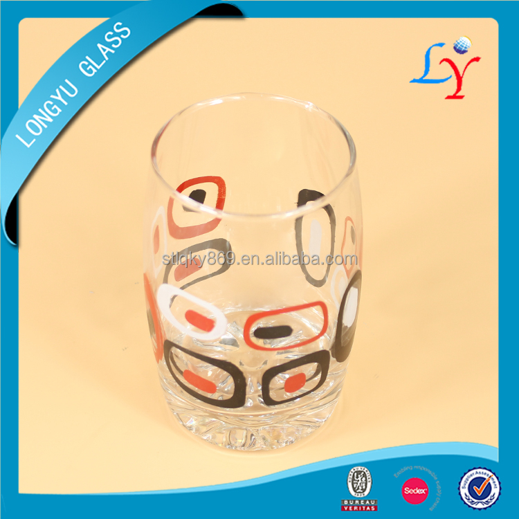 Machine blown wholesale 270ml decal print turkish glass cup for tea