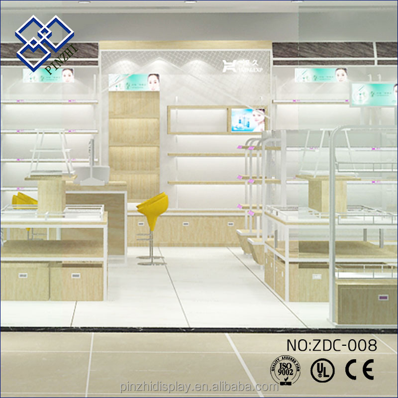 China new Wooden cosmetic cabinet display showcase for makeup shop <strong>show</strong>