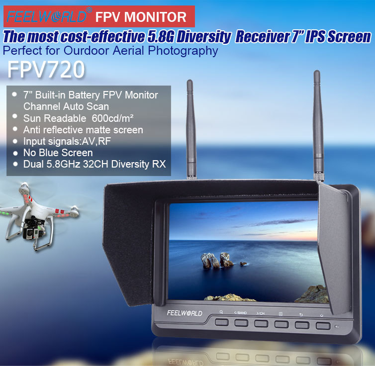 Landing gear rc plane for 7 inch lcd fpv monitor with 600cdm2 brightness ips panel