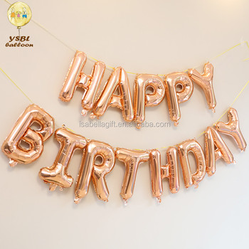 Rose Gold Color Letter Shape Happy Birthday Balloons For Baby Shower Party