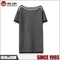Sweater manufacturer latest new style boat neck long women short sleeve sweater
