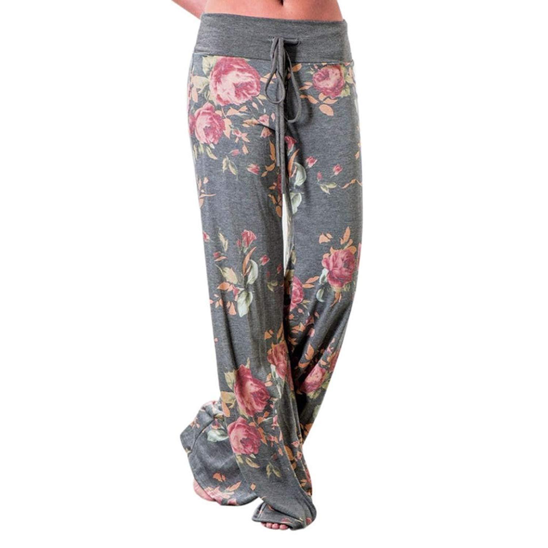 8419fd0ecbd71 Get Quotations · Aibiner Women Pyjama Pants Floral Prints Drawstring Lounge  Pants Palazzo Sleep Wear Hight Waist Trousers