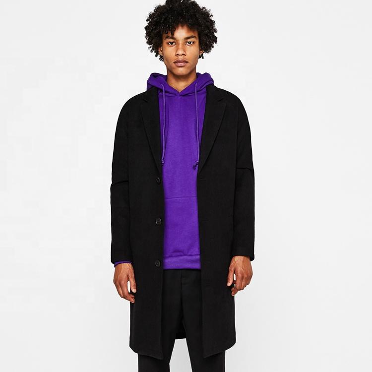 Men's 2019 autumn and winter temperament lapel woolen coat