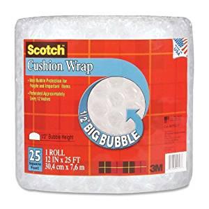 """Wholesale CASE of 15 - 3M Scotch 1/2"""" Bubble Cushion Wrap -Cushion Wrap, 12""""x25', 1/2"""" Bubble, Clear"""