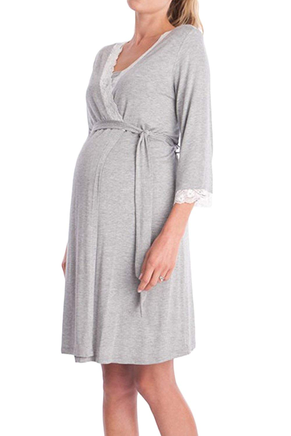 7f27adb637e12 Get Quotations · Yacun Women's Maternity Robe Pajamas 3/4 Sleeve Nursing  Nightgown