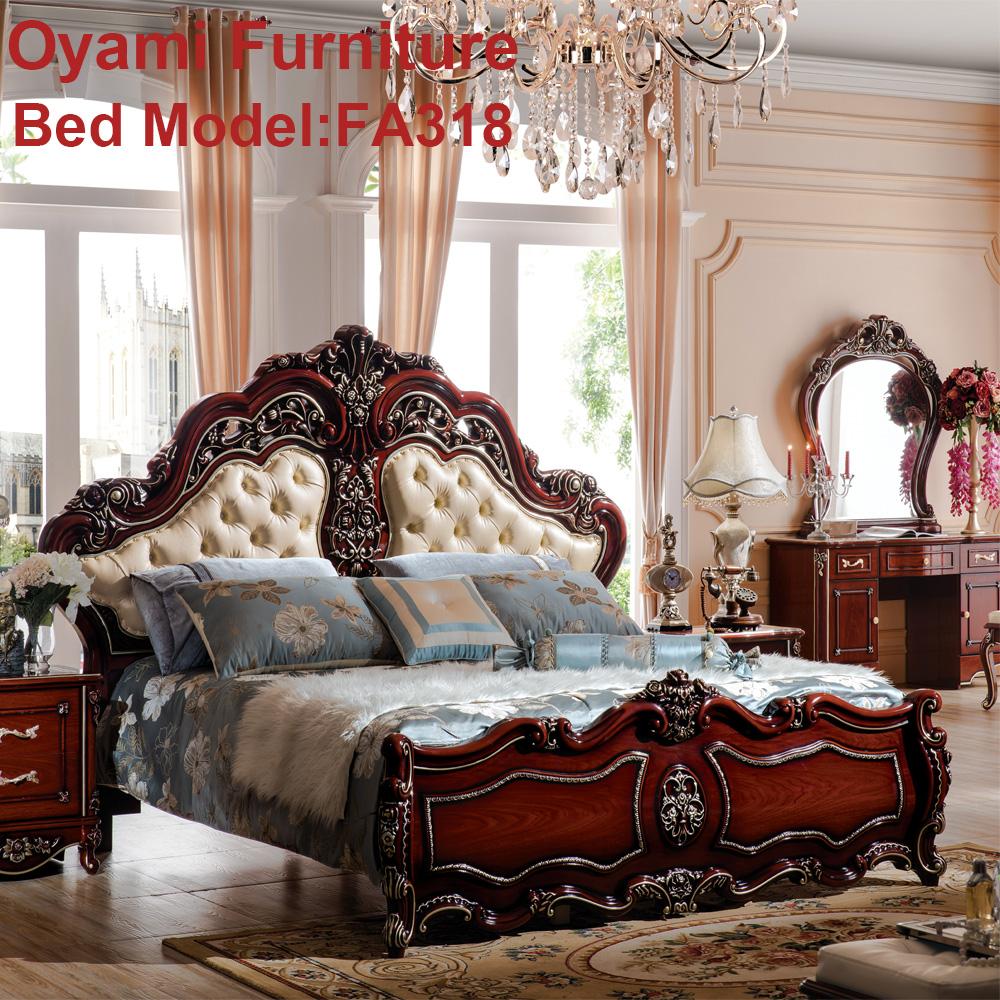 Rococ barroco europeo mano cama de madera tallada - Camas estilo romantico ...