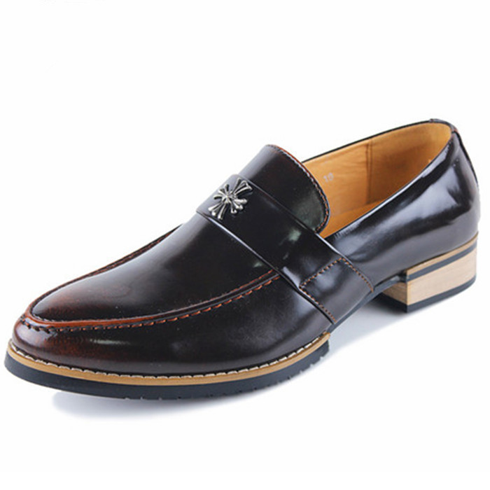 New 2015 Oxfords Shoe For Men Dress Shoe Leather Causal Fashion Classical Breathable Men Shoes Slip- on Brown Size 7-9.5
