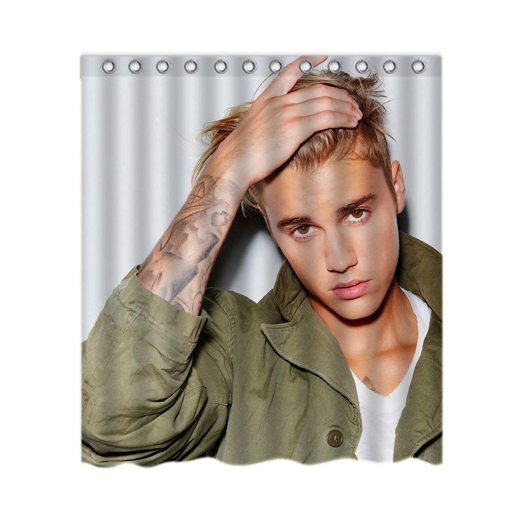 Justin Bieber B W Unique And Generic Shower Curtain Custom Waterproof Bath