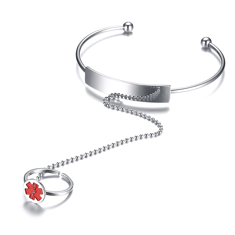 Stainless steel medical alert ID bangle finger chain ring bracelet
