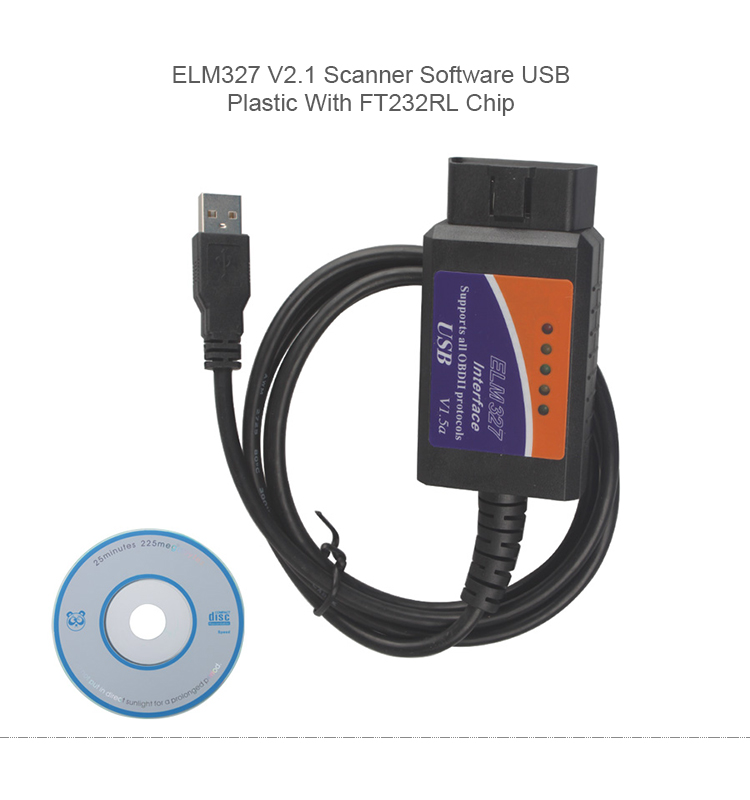 ELM327 V2.1 Scanner Software USB Plastic With FT232RL Chip ELM002