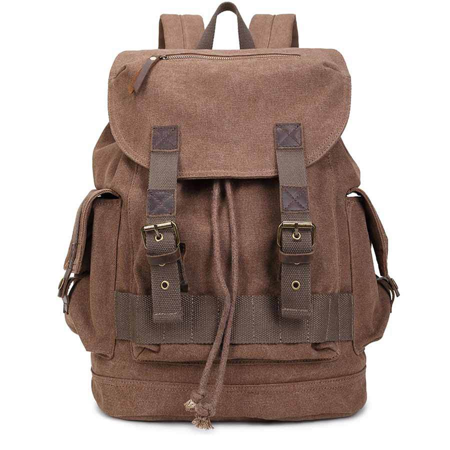 Canvas with Genuine Leather Climbing Bag Outdoor Military Tactical Backpack Women and Men Sport Rucksack Women Men's Travel Bags