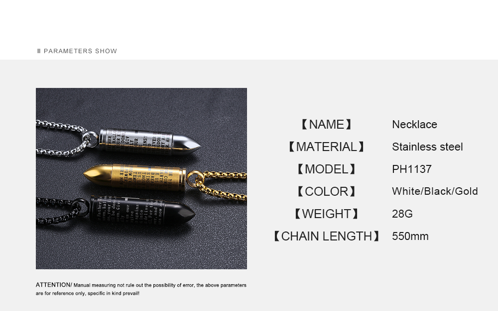 Men Jewelry Bullet Shape Charm Engraved Silver Stainless Steel Bullet Design Necklace For Men