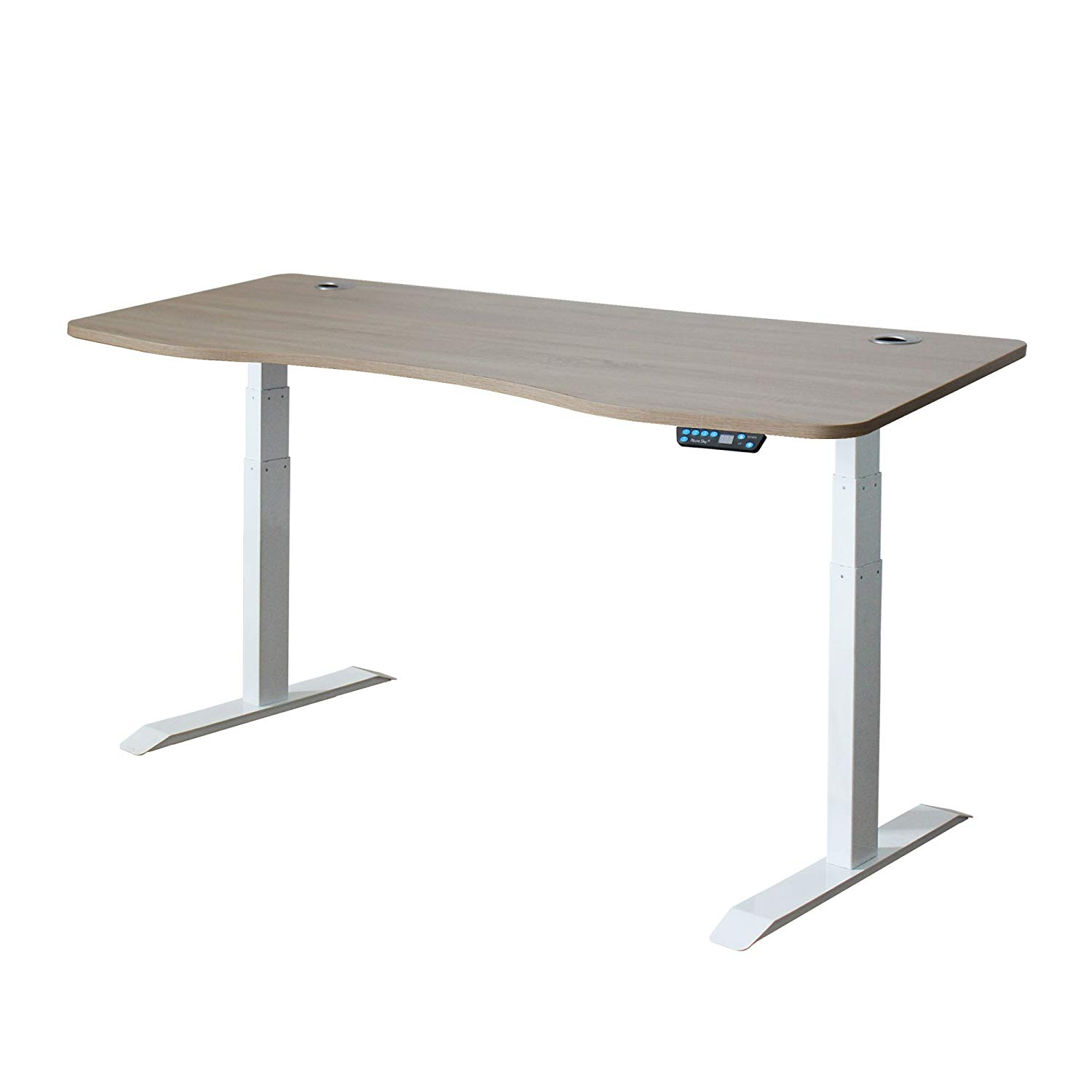 Azure Sky A3-63 Ergonomic 63-in 3 Memory Buttons LED Electric Automatic Height Adjustable Sit to Stand Curved Work Office Desk with White Legs