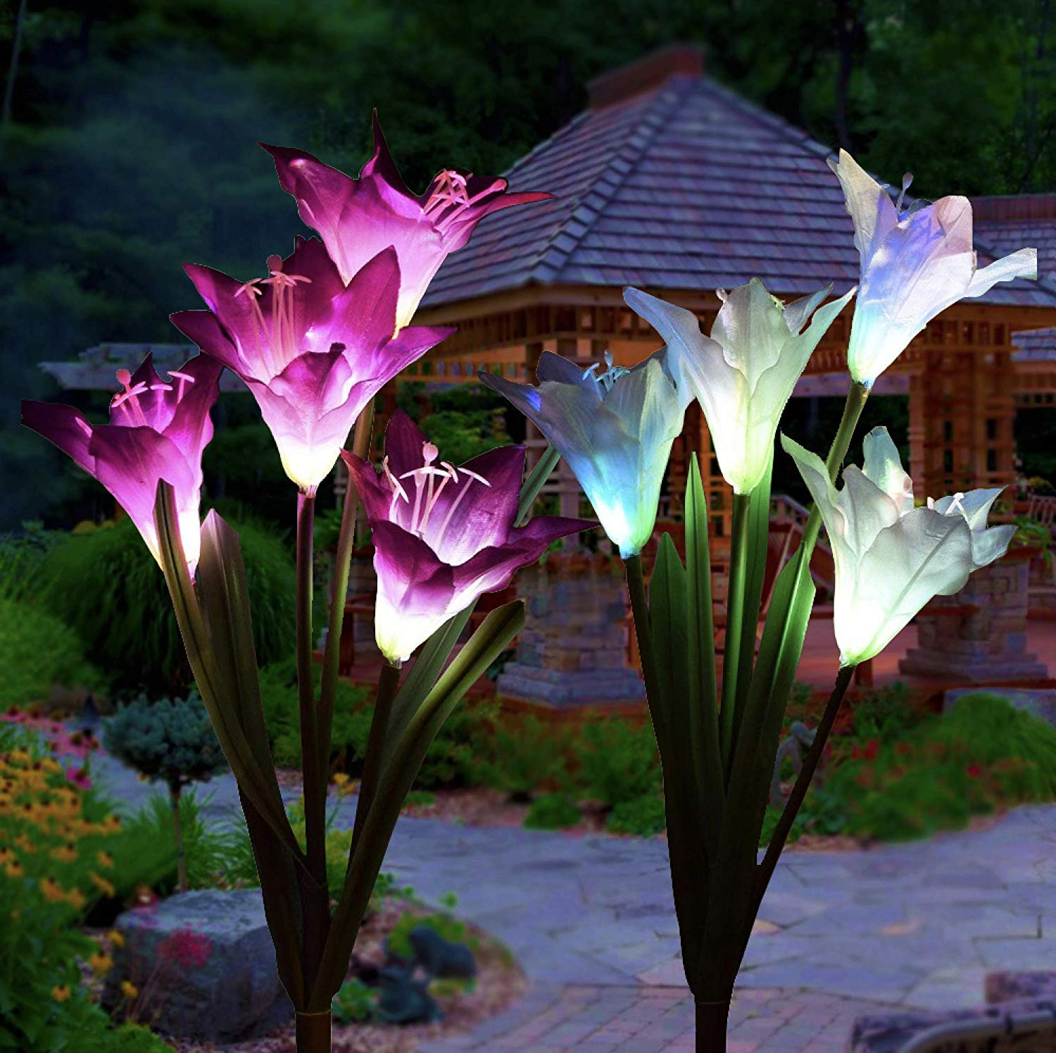 Outdoor Solar Flower Garden Decoration - 2 Pack Modern Life-styles Solar Powered Garden Light Stake With 8 Lily Flowers, Multi Color Changing LED Solar Stake Lights For Garden, Patio, Backyard