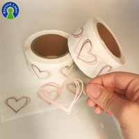 Custom Vinyl Roll Transparent Sticker Clear Rose Gold Hot Foil Self Adhesive Heart Shape Private Labels Printing