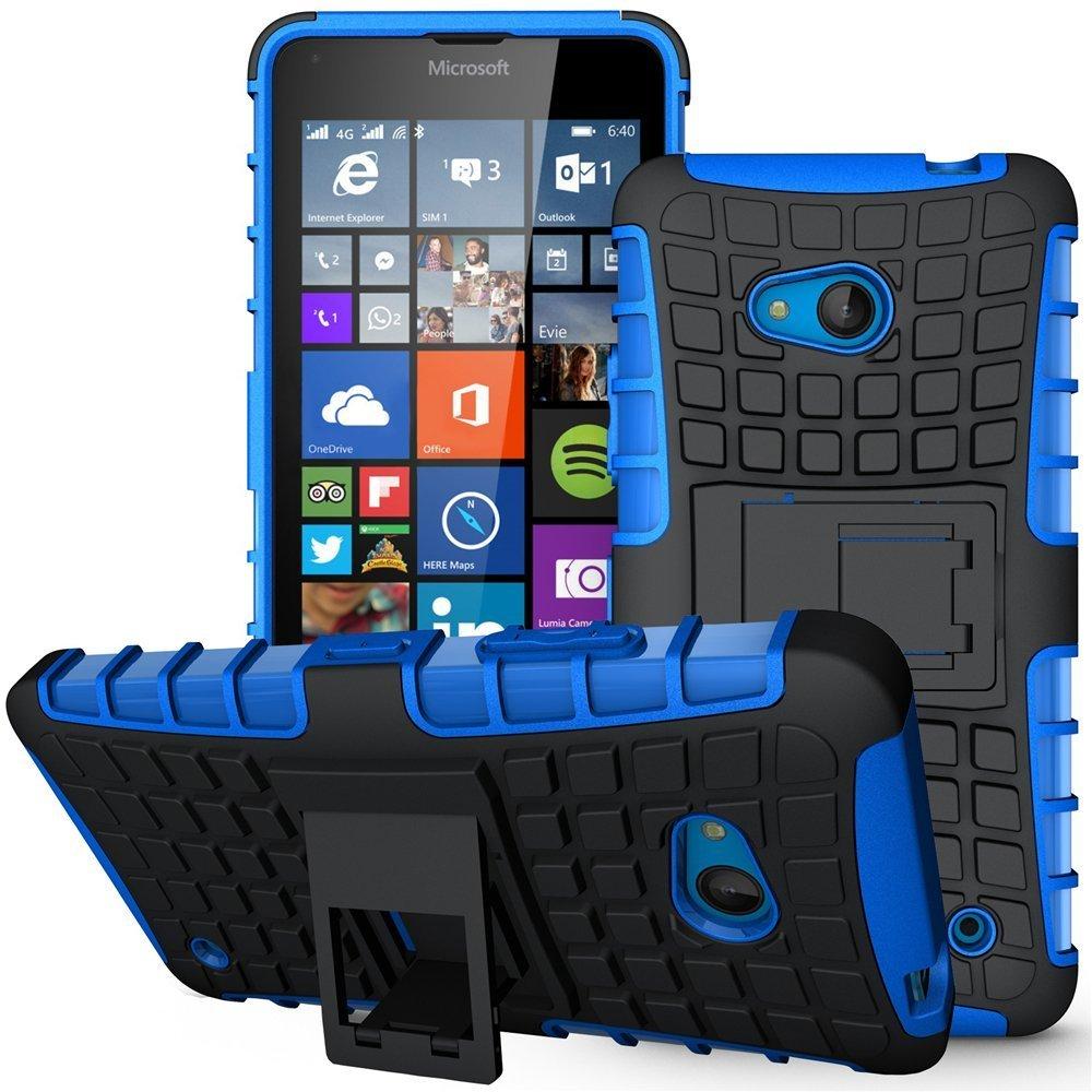 Lumia 640 Case,Nokia 640 Case, Sophmy Hybrid Dual Layer Armor Protective Case Cover with kickstand for Microsoft Lumia 640 (blue)