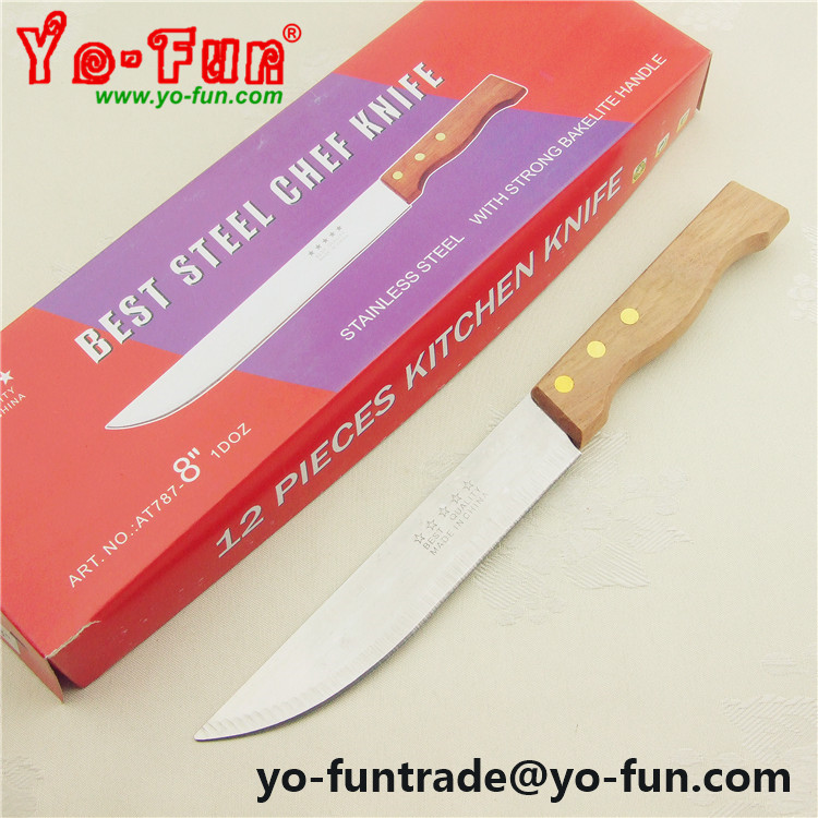 "GJH166 Five star wooden handle 6"" inch 12pcs stainless steel gift knife"