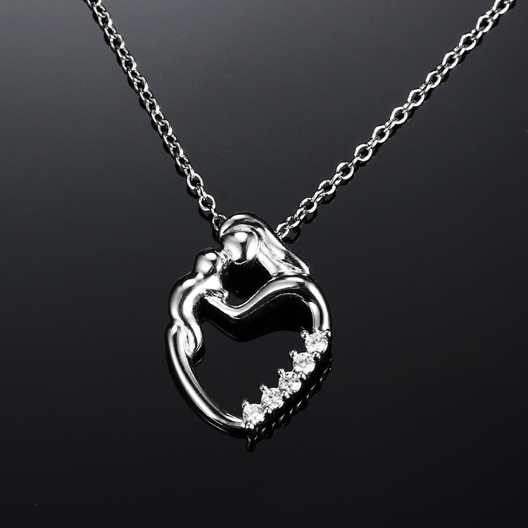 925 Sterling Silver and gold plated mother child necklace jewelries heart pendants