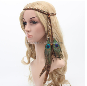 Boho Chic Feather Hair Band tribal peacock feather headwear SP6237 421867002e8