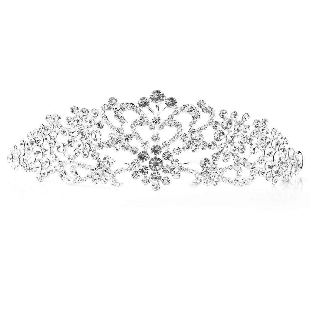 Bridal Jewelry Crown Tiara Peach Heart Rhinestone Wedding Party