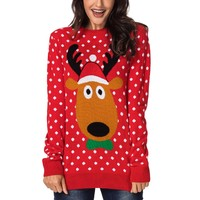 Long Sleeve Knit Top Crop With Long Sleeves Lovely Reindeer Red Christmas Sweater Women Jumper Pullover Tops Coat Winter E27908