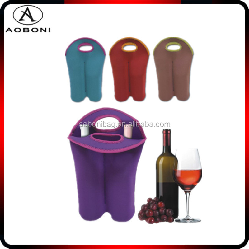 Deluxe Insulated Wine/ Water Neoprene Double Bottle Tote Pack Bottle Carrier wholesale