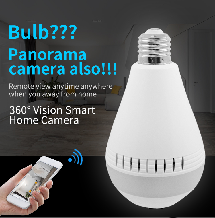 HD 960P Night Vision Camera 360 Degree Panoramic CCTV Security Wireless IP Wifi Light Bulb Camera V380