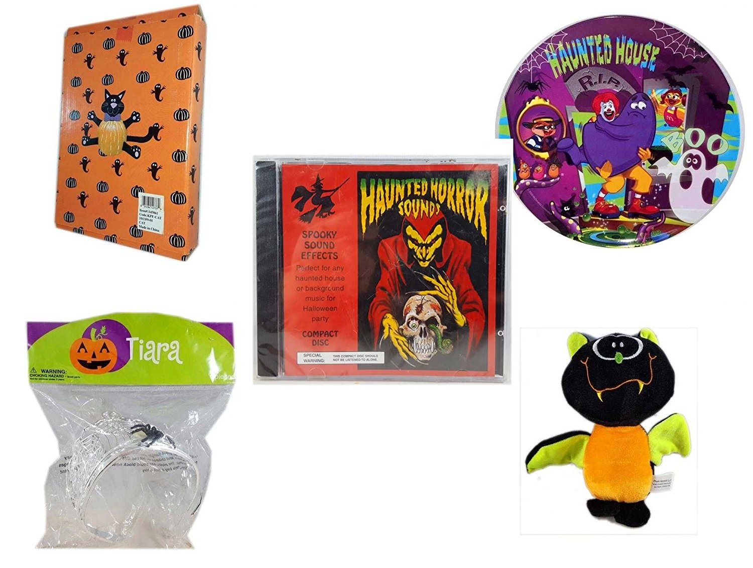 Halloween Fun Gift Bundle [5 piece] - Halloween Cat Pumpkin Push In 5 Piece Head Arms Legs - McDonald's Haunted House, RIP, Boo Halloween Plate - Haunted Horror Sounds CD - Halloween Spider Tiara -