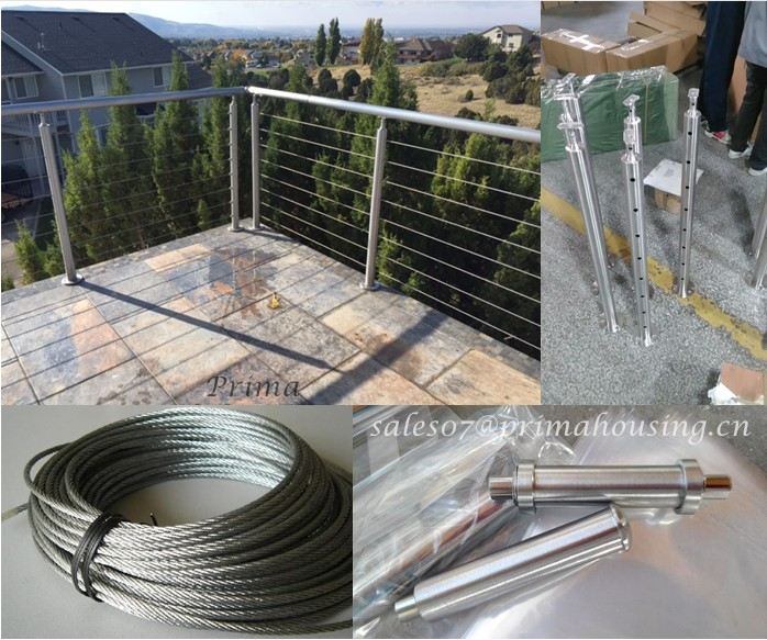 Stainless Steel Balcony Tension Wire Railing Or Cable Wire Fence For ...