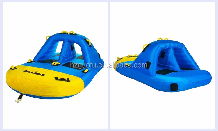 4 Person Inflatable Beach Waterski Towable Tube Raft for Summer Holiday