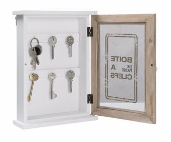 Rustic Painting Wooden Key Cabinet Gl Door Storage Box