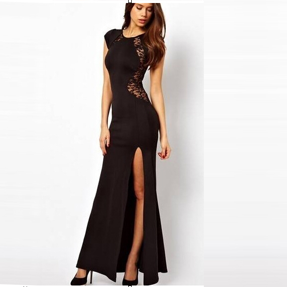 new  2015 summer Sexy black lace ankle length dress o neck Zipper  transparent sheath long dress size plus for party ty0498.xpp