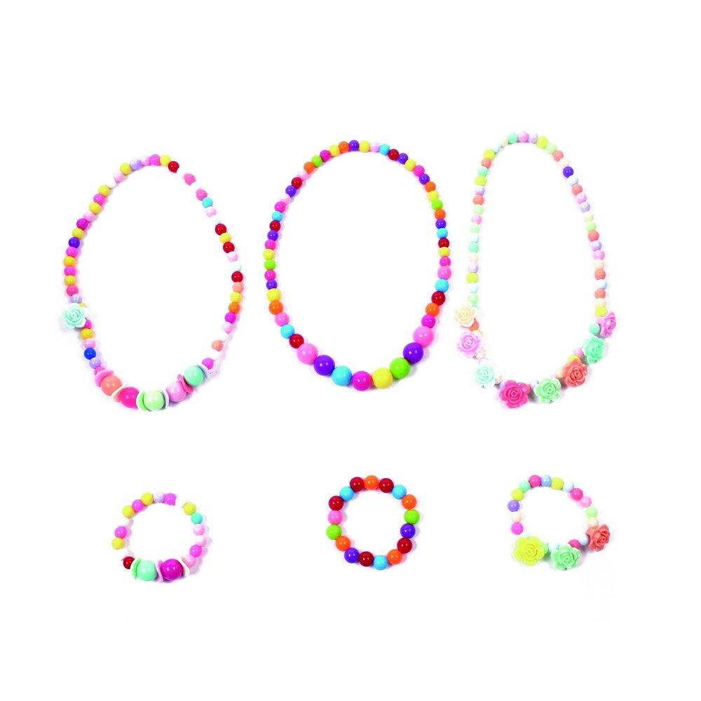 Dr.Pink 3 Sets Kids Lovely Necklace Bracelet Set Princess Party Favor Play Necklaces for Little Girls