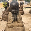 Wholesale Sale Stone Carving New Product Black Marble Little Monk Statue For Garden Home Decor
