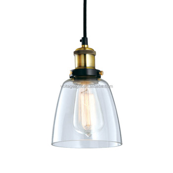 Vintage Style Clear Gl Pendant Lighting With Metal Lampholder