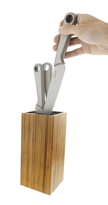 Bamboo knife block with dishwasher safe bristles 9