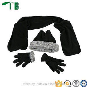 New fashion Hot sale cheap custom knitted winter scarf hats and gloves set
