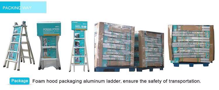 Multi Gebruik Hydraulische Aluminium Vouw Zolder Loft Ladder Ontwerp Met Leuning 3 M