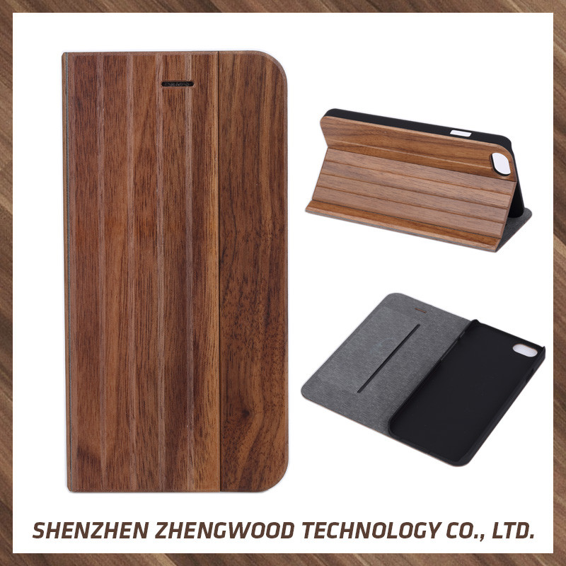 Perfect Quality wood flip leather cell phone case wooden wallet card case for iPhone