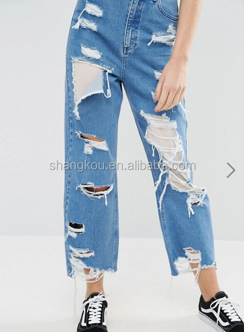 Guangzhou Factory OEM and ODM Ripped New Modal ladies jeans pants